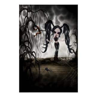 Sepia Goth Girl Vignette Print
