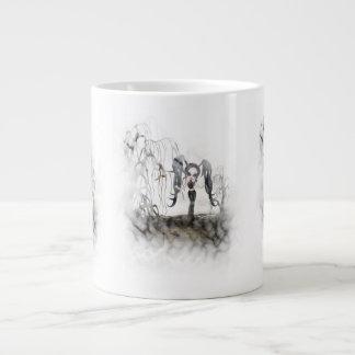 Sepia Goth Girl Vignette Jumbo Mugs