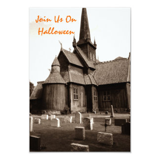 Sepia Gothic Church Graveyard Goth Invitations
