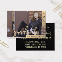 Sepia Graduation | Gold Grad Photo Name Card Party