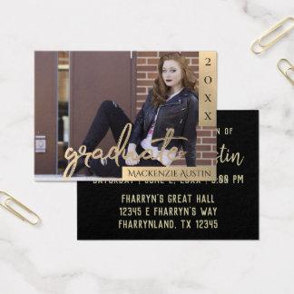 Sepia Graduation | Gold Modern Grad Photo Party Business Card