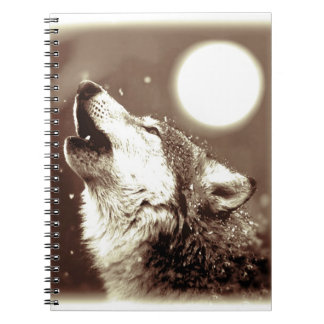 Sepia Howling Wolf at Moon Notebook