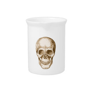Sepia Human skull face Beverage Pitcher