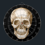 "Sepia Human skull face Dartboard With Darts<br><div class=""desc"">A human skull,  face on,  in sepia.</div>"