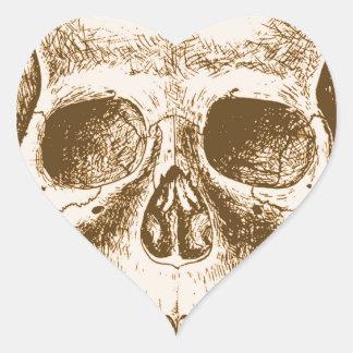 Sepia Human skull face Heart Sticker