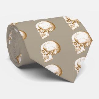 Sepia Human Skull Tie