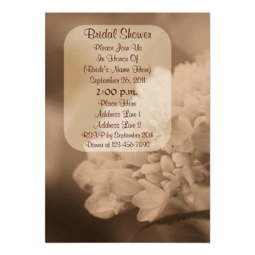 Sepia Hydrangea Flower Bridal Shower Invite