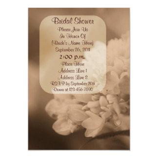 """Sepia Hydrangea Flower Bridal Shower Invite 5"""" X 7"""" Invitation Card"""