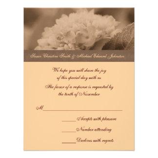 Sepia Hydrangea Wedding Response RSVP Card Personalized Invites