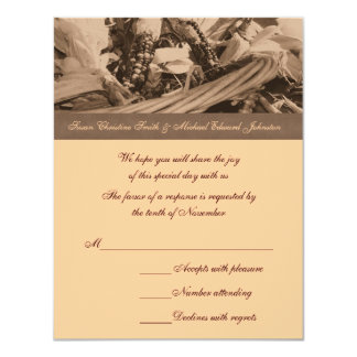 "Sepia Indian Corn Basket Wedding Response RSVP 4.25"" X 5.5"" Invitation Card"