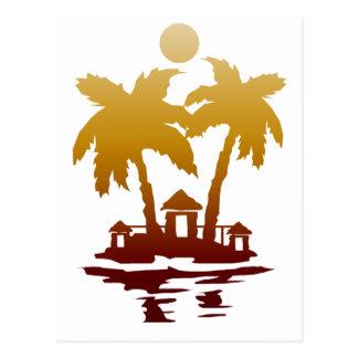 sepia invert.png de las casas de isla de la playa tarjetas postales