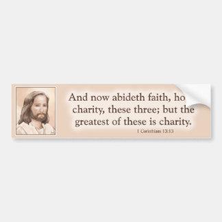Sepia Jesus Art Bible Quote - 1 Corinthians 13:13 Car Bumper Sticker