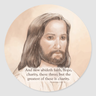 Sepia Jesus Art Bible Quote - 1 Corinthians 13:13 Classic Round Sticker