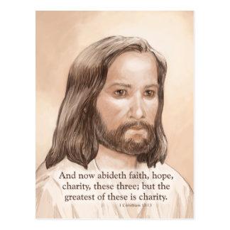 Sepia Jesus Art Bible Quote - 1 Corinthians 13:13 Postcard