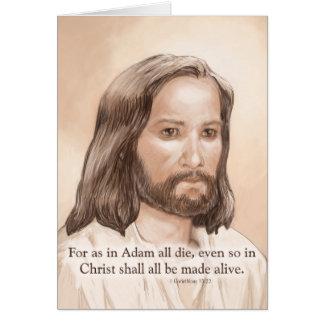 Sepia Jesus Art Bible Quote - 1 Corinthians 15:22 Card