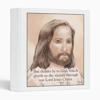 Sepia Jesus Art Bible Quote - 1 Corinthians 15:57 3 Ring Binder
