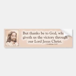 Sepia Jesus Art Bible Quote - 1 Corinthians 15:57 Car Bumper Sticker