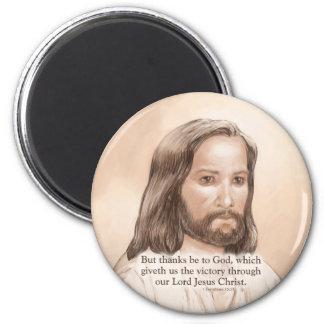 Sepia Jesus Art Bible Quote - 1 Corinthians 15:57 Magnet