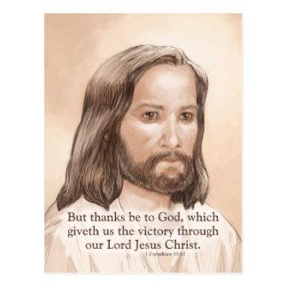Sepia Jesus Art Bible Quote - 1 Corinthians 15:57 Postcard