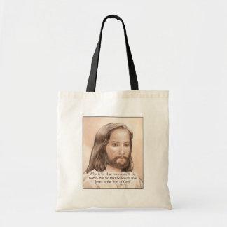 Sepia Jesus Art Bible Quote - 1 John 5:5 Tote Bag