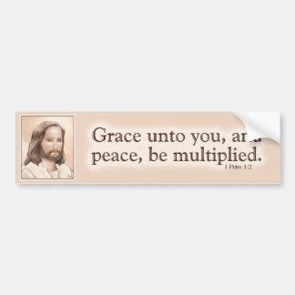 Sepia Jesus Art Bible Quote - 1 Peter 1:2 Car Bumper Sticker