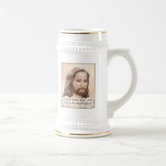 Sepia Jesus Art Bible Quote - 1 Peter 1:2 Coffee Mugs