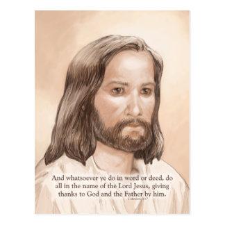 Sepia Jesus Art Bible Quote - Colossians 3:17 Postcard