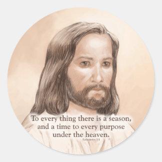 Sepia Jesus Art Bible Quote - Ecclesiastes 3:1 Classic Round Sticker