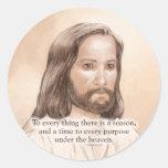 Sepia Jesus Art Bible Quote - Ecclesiastes 3:1 Round Sticker