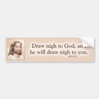 Sepia Jesus Art Bible Quote - James 4:8 Car Bumper Sticker