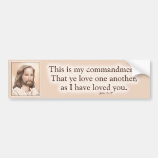 Sepia Jesus Art Bible Quote - John 15:12 Bumper Sticker
