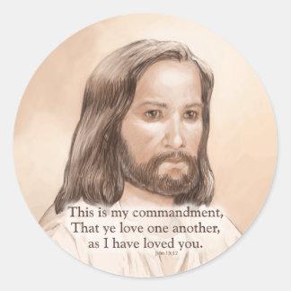 Sepia Jesus Art Bible Quote - John 15:12 Classic Round Sticker