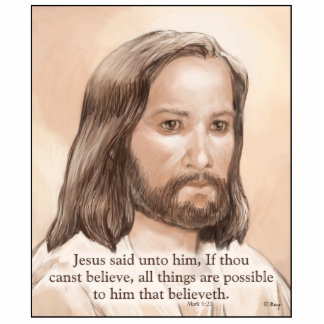 Sepia Jesus Art Bible Quote - Mark 9:23 Photo Cutouts