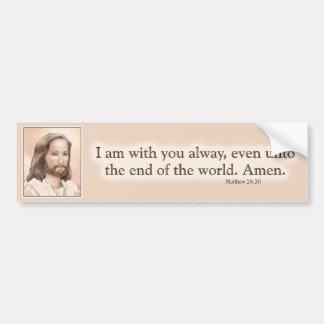 Sepia Jesus Art Bible Quote - Matthew 28:20 Car Bumper Sticker