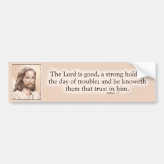 Sepia Jesus Art Bible Quote - Nahum 1:7 Car Bumper Sticker