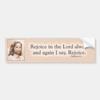 Sepia Jesus Art Bible Quote - Philippians 4:4 Car Bumper Sticker