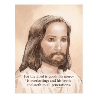 Sepia Jesus Art Bible Quote - Psalm 100:5 Postcard