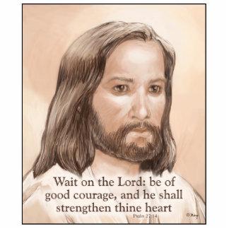 Sepia Jesus Art Bible Quote - Psalm 27:14 Cutout