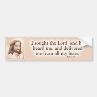 Sepia Jesus Art Bible Quote - Psalm 34:4 Car Bumper Sticker