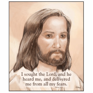 Sepia Jesus Art Bible Quote - Psalm 34:4 Photo Cut Out