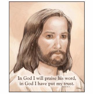 Sepia Jesus Art Bible Quote - Psalm 56:4 Photo Sculpture