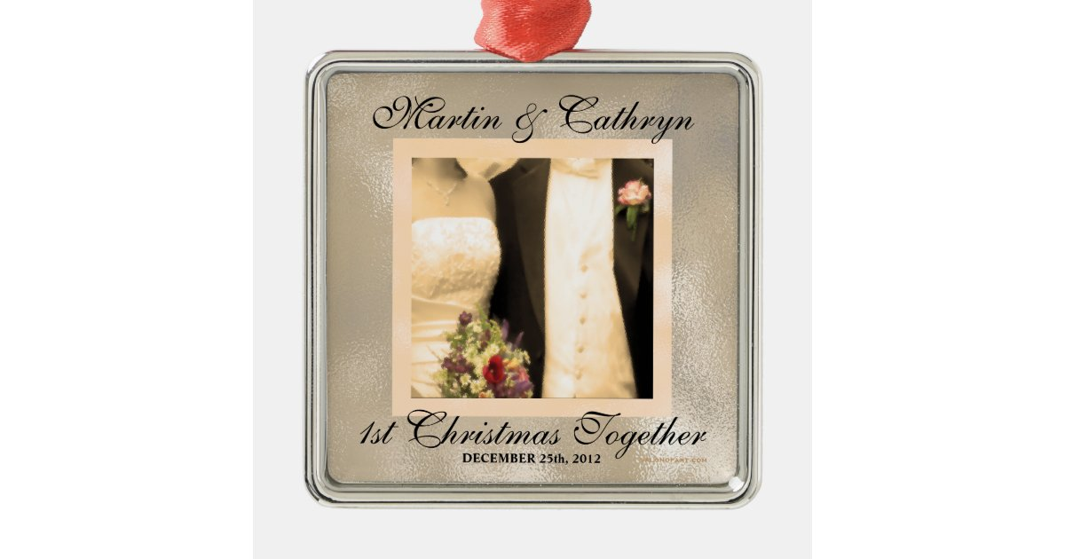 Sepia Just Married 1st Christmas Custom Year Metal Ornament | Zazzle.com
