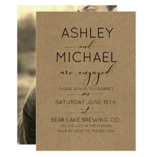 Sepia Kraft Typography Engagement Party Invitation