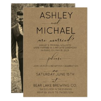 SEPIA KRAFT TYPOGRAPHY Reception Only Photo Invitation