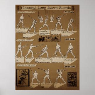 Sepia larga del poster del guardia de espada