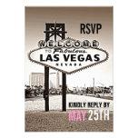Sepia Las Vegas RSVP que se casa moderno del vinta Anuncio Personalizado