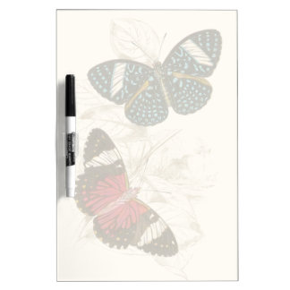 Sepia Leaves with Colorful Butterflies Dry-Erase Board