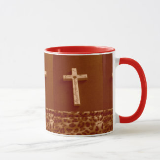 Sepia leopard print red rose cross cup pretty
