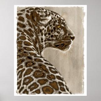 Sepia Leopard Sketch Print