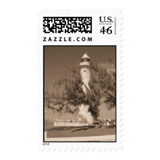 Sepia Lighthouse Postage Stamps